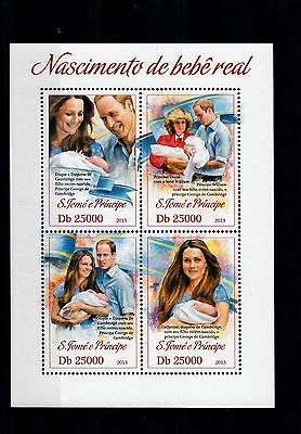 Sao Tome Principe 2013 MNH Birth Prince George Royal Baby 4v M/S William Kate