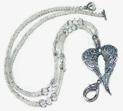 Angel Wings Beaded Necklace Lanyard keys work id badge clear crystal