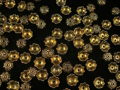 Bead Caps 10 x 3mm Gold Pack of 50 Findings Jewellery Flower Bell  FREE POSTAGE