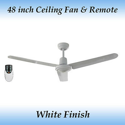 Fias Sparky 3 blade 48 inch Ceiling Fan White with remote