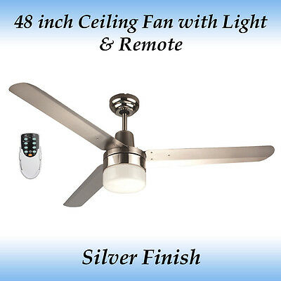 Sparky 48 inch 3 Blade Silver Stainless Steel Ceiling Fan with Light and Remote