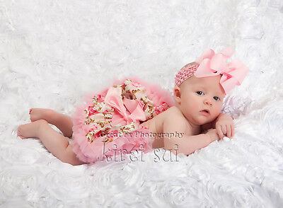 Newborn Baby Light Pink Rose Pettiskirt Tutu Party Skirt Photo Prop Party 0-6M