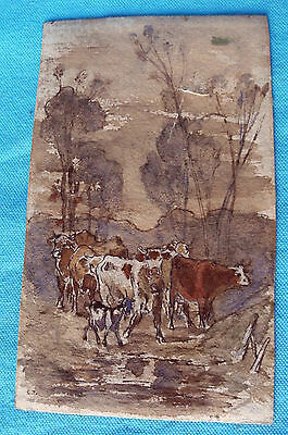 "aquarelle Constant TROYON (1810-1865) ""vaches à l'abreuvoir"" french drawing 19th"