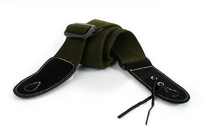New Guitar Strap Acoustic or Electric Cotton Leather Ends & Tie Olive