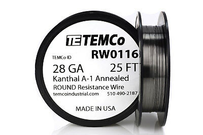 TEMCo Kanthal A1 wire 28 Gauge 25 Ft Resistance AWG A-1 ga