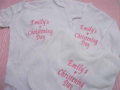 Personalised Embroidered Christening Baby Grow / Sleepsuit, Vest & Bib Gift Set