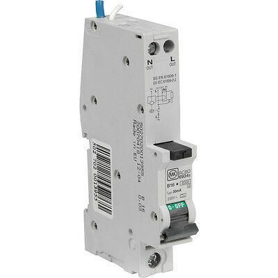 MK ELECTRIC 6, 10, 16, 20, 32 and 40 Amp Sentry SP RCBO Circuit Breaker Fuse