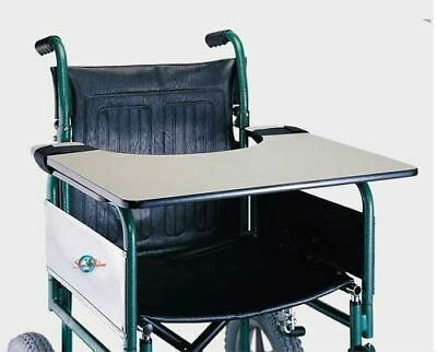 Strong Wheelchair Work Tray Wood Table with Velcro Ties Wipe Clean Food Surface