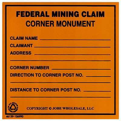 Federal Mining Claim Corner Monument Aluminum Bright Yellow 3 x 3 inches
