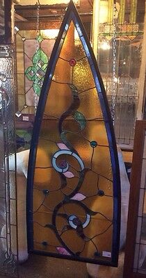 Amber Vine Antique Gothic Arch Stained Glass w Roundelles #7516