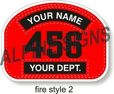 "Fire Firefighter Helmet Shield sticker - Style 2 - Custom just for You! 4.2""x3.2"