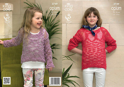 King Cole Girls Knitting Pattern Opium Easy Knit Long Sleeve Jumper Sweater 3749