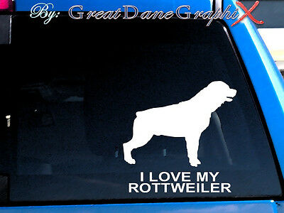 "Rottweiler ""I Love My"" Vinyl Decal Sticker / Color Choice - HIGH QUALITY"