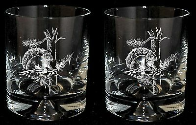*SQUIRREL GIFT* Boxed Pair of GLASS WHISKY TUMBLERS with SQUIRREL design