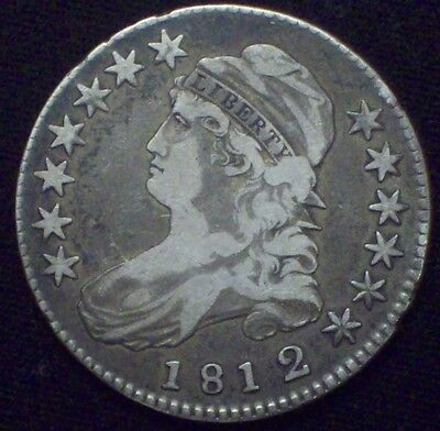 1812 over 1 1812/1 BUST Half Dollar SILVER O-102 RARE VF+/XF Detailing Authentic
