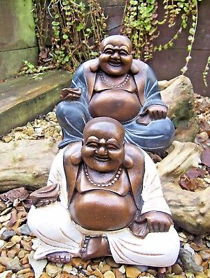 Fair Trade Hand Made Carved Resin Chinese Laughing Buddha Statue Indonesia 20cm