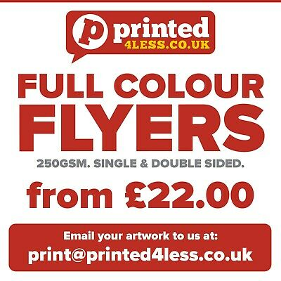 Flyers Leaflets Printed Full Colour 250Gsm Gloss Paper A3 A4 A5 A6 A7 A8 Dl Menu