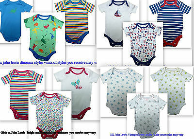 New baby boys girls ex John Lewis bodysuits age 0-3 3-6 6-9 9-12 12-18 18-24