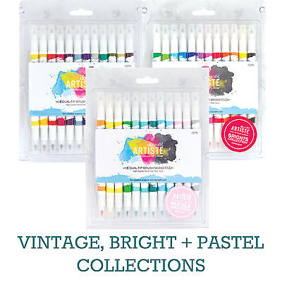12 x Docraft Artiste Dual Tip Pens Permanent Brush Marker Paint Permanent Ink