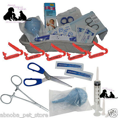 COMPLETE Puppy Whelping Kit Aspirator Forceps Wipe Mini Cord Clamps Milk Syringe