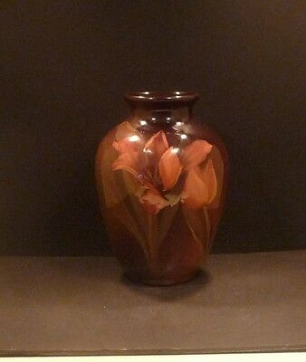 "Rookwood Standard Glaze Vase With Orange Tulips - 8""- Lenore Ashbury - MINT"
