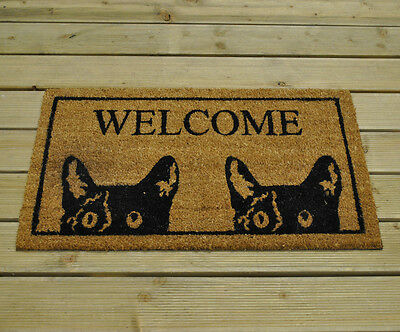 Gardman Tom Cat Black Cats Welcome Coir Non Slip PVC Backed Doormat (45 x 75cm)