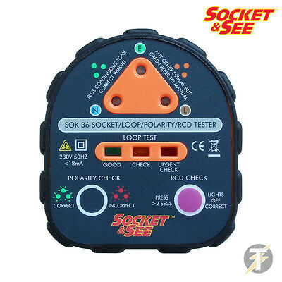 Socket and See SOK36 Mains Socket / RCD Tester with Earth Loop and Polarity Test