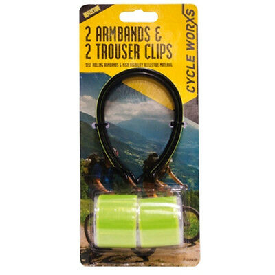 Reflective Arm Band High Visibility Fluorescent Cycle Trouser Clip Strip Biking