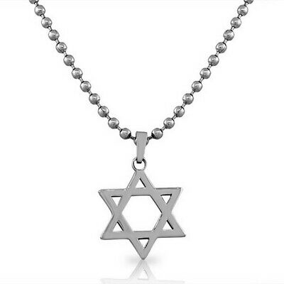 Stainless Steel Silver-Tone Classic Jewish Star David Mens Boys Pendant Necklace