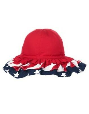 Gymboree All American Style Stars N Stripes Tiered Sun Hat 0 12 24 2 3 4 5 Nwt