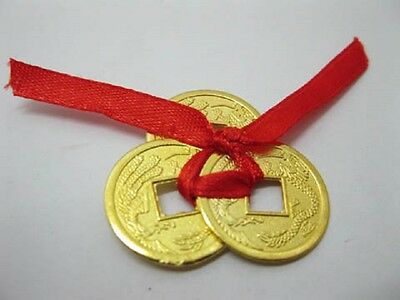 2 Set of 3 Chinese Golden I-Ching Double Dragon Coins tied with red Ribbon(CO35)