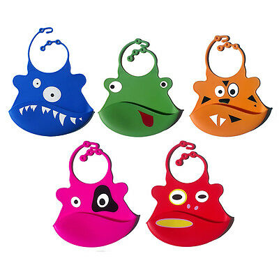 Silicone Baby Bib Washable Roll Up Crumb Catcher Various Designs UK Seller
