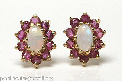9ct Gold Opal and Ruby Stud Earrings Gift boxed Made in UK