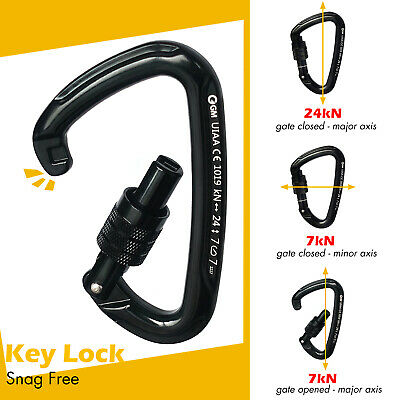 Lightweight 24kN Locking Carabiner Screw Gate for Climbing Tactical By CE / UIAA