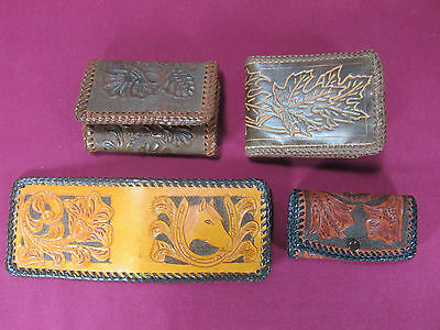 Vtg. Mid-Century Brown Hand Made Tooled Leather Billfold Bifold Wallet LOT of 4