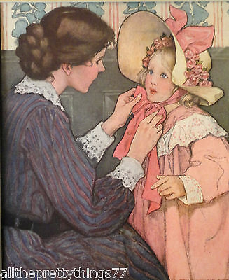 JESSIE WILCOX SMITH Mother Daughter Child HAT Picture  MATTED 1911 Vintage Print