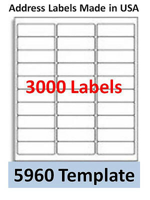 3000 Laser/Ink Jet Labels 30up Address Compatible with # 5960 Templates
