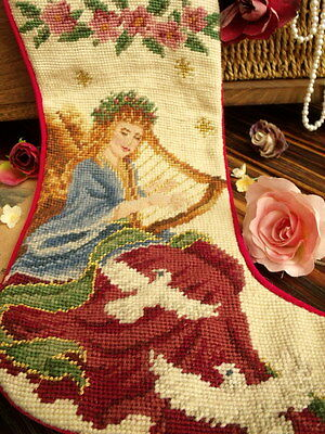 Vtg Completed Needlepoint Xmas Stocking GIFT~Fairy Angel Pigeon Musical Rose NEW