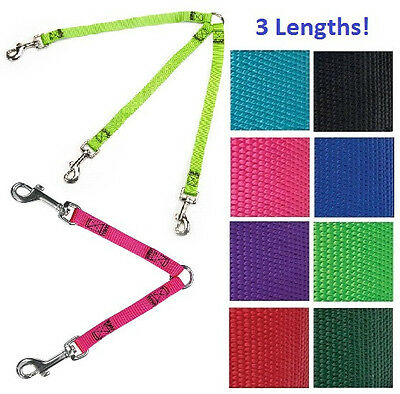 "Guardian Gear 2 or 3 Way Dog Coupler, 4"" 12"" or 24"" Nylon Lead Leash, Multiple"