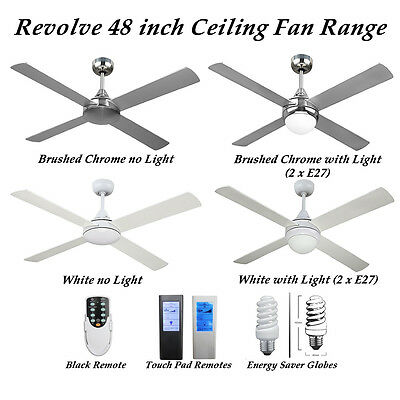 Revolve 48 inch 4 Blade Ceiling fan in Brushed Chrome or White with Options