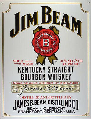 Jim Beam White Label Whisky Blechschild Flach Neu aus USA 31x40cm S854