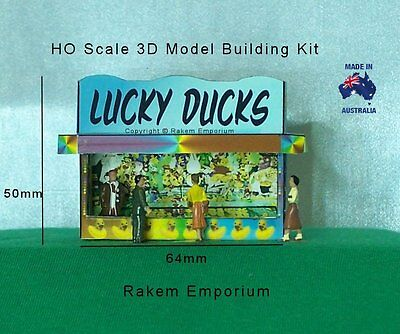 HO Scale Lucky Ducks Carnival Booth 3D Model Railway Building Kit - RELD1