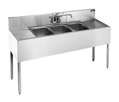 Stainless 3 Compartment Under Bar Sink 60x18 Right Left Drainboard BAR1014-3RL