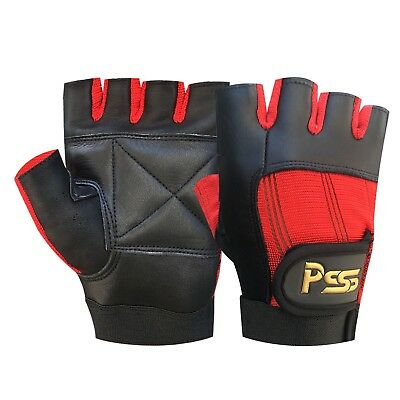 New leather fingerless gloves weight training gym bus driving cycling wheelchair