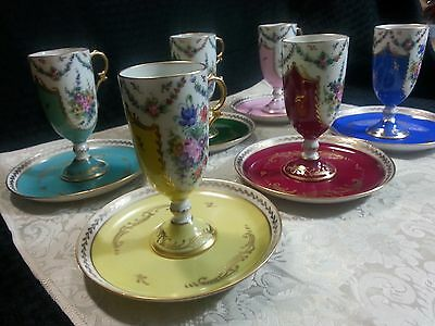 Limoges France Hand Painted Cup And Saucer Set Of 6