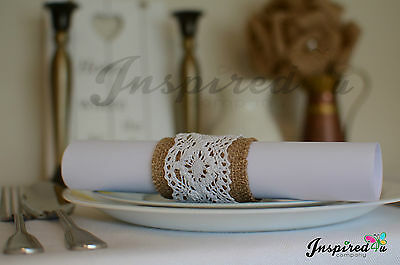 Set of 10 Hessian Burlap Lace Serviette Table Napkin Rings Wedding Party