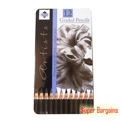 12 Pcs Graded Pencils Sketch Artist Tin For Drawing Sketching Shading
