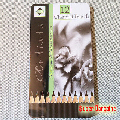 12 Pcs Charcoal Artist Pencils For Drawing Sketching Shading Draw Tones Shades