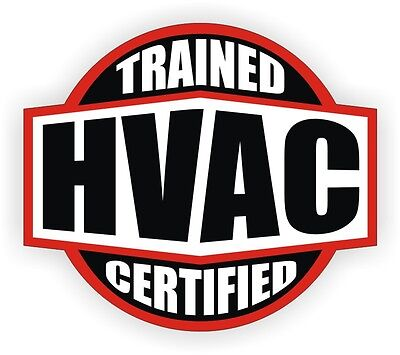 HVAC Trained & Certified Hard Hat Decal / Helmet Sticker Toolbox Heating A/C