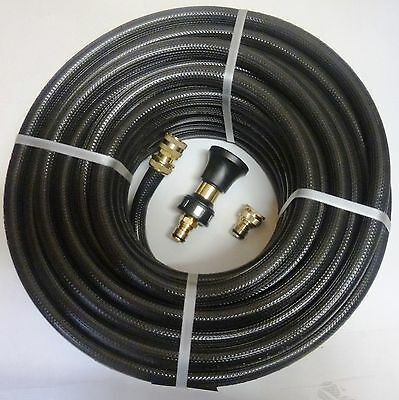 FIRE FIGHTING REEL WATER HOSE PIPE 18mm 3/4 x 36m AUSTRALIAN BRASS NOZZLE FITTED